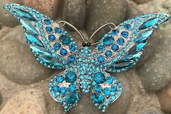 Large Vintage Crystal Rhinestone Butterfly Insect Bug Pin Brooch Aqua Blue Color
