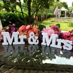 Mr amp; Mrs White Wooden Letters Sign For Sweetheart Table Decor Wedding Decoration $7.81