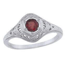 4mm Vintage Style Round Garnet Vintage Style Ring in 14K Solid White Gold $749.24