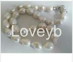 classic14-15mm south sea white baroque keshi pearl necklace 18inch