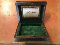 Vintage 1930's LE COULTRE Watch Box Wood wGreen Velvet Lining