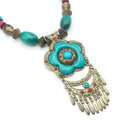 Gold Tone Turquoise Colored w Wood & Gold Acrylic Beads Statement Necklace