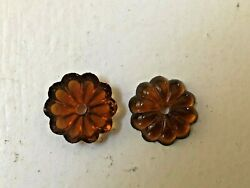 Lot of 5 New VINTAGE AMBER chandelier 16mm Rosettes Italian Glass Lamp Parts $5.94