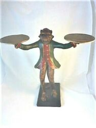 Rare Style Standing Butler MONKEY Candle Holder Folkart GREEN COAT Huebbe 1987