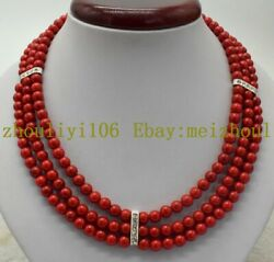 Natural 3 Row 6mm South Sea Red Coral Round Gemstone Beads Necklace 18-20'' AAA