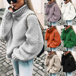 Womens Turtle Neck Knitted Sweater Oversized Winter Baggy Jumper Plus Size USA