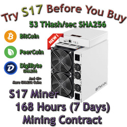 AntMiner S17 Rental. 53 Th Guaranteed 168 Hours Mining Contract Lease SHA256 BTC $85.49