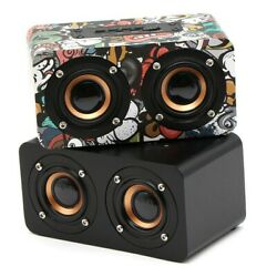 Portable Wooden Speaker Stereo Bass Wireless Bluetooth 5.0 Player Loudspeaker