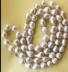 huge14-15mm south sea baroque pearl necklace 38nch 14k