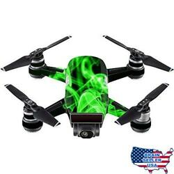 MightySkins Skin Compatible with DJI Spark Mini - Green Flames  Protective Dur