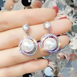 Gorgeous 925 Silver Drop Earrings for Women White Pearl Jewelry A Pairset