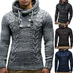 Mens Winter Chunky Knitted Sweater Hooded Hoodie Pullover Jumper Top Knitwear