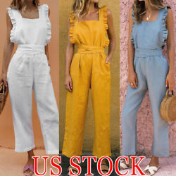 Women's Beach Sleeveless Bohemian Holiday Long Jumpsuit Casual Slim Jumpsuit US