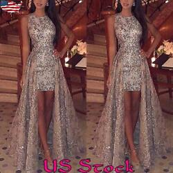 Women's Sexy Sequin Sleeveless Dress Slim Fit Party Elegant Long Maxi Skirt US