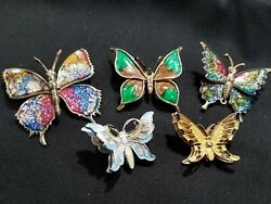 5 pc colorful Butterfly Brooch Pin Lot  Vintage