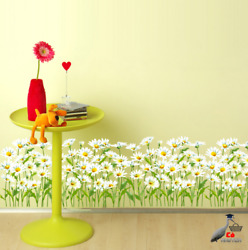 Wall Stickers Flowers Grass Baseboard For House Living Room Bedroom Decoration $11.10
