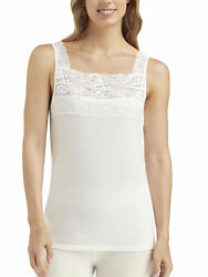 Cuddl Duds Women#x27;s SofTech Stretch Lace Square Neck Tank Top Camisole $22.10