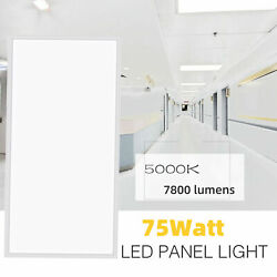 2x4FT White LED Flat Panel Troffer Light75W Recessed Edge-Lit Drop Ceiling Lamp