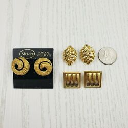 Lot of 3 Gold Tone Earring Sets Post Pierced Round Oval Square Monet Signed $16.99