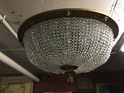 Big Ceiling Lamp Plafoniere with French Crystal Stones Bronze Frame