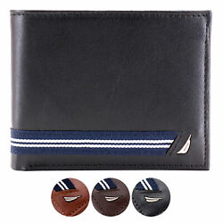 Nautica Men#x27;s Genuine Leather Credit Card ID Double Billfold Passcase Wallet $25.99