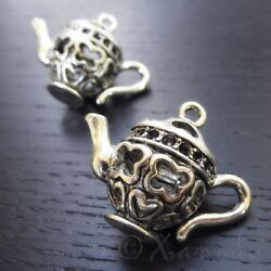 Teapot Charm 34mm Large Antiqued Silver Plated Pendant 9839 - 1 2 Or 5PCs $5.50