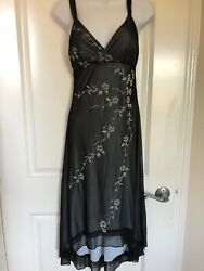 Ruby Rox Classy Long Formal Prom Homecoming Floral Gray S $13.19