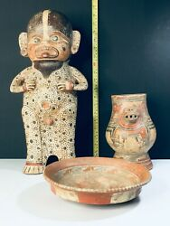 LOT OF THREE HUGE PRECOLUMBIAN ORIGINALS BIG PIECES