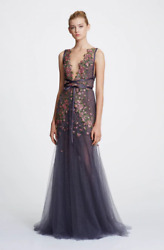 NWT Designer Couture Sleeveless Illusion V Neck Tulle Gown