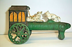 Antique Mechanical Cast Iron Pull ToyChained Dog Chasing a CatWorks! Estate