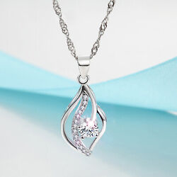 REAL SOLID SILVER 925  Classic Sterling Silver Necklace & Pendant Accent-041