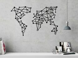 World Map Metal Wall Hanging Contemporary Metal Wall Art Geometric Triangles $89.00