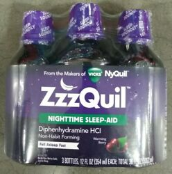 ZzzQuil Nighttime Sleep Aid Liquid From Makers of Vicks NyQuil 12 oz x 3 Bottles