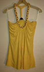 SKY Brand Soft  Braided Yellow  Halter Top size Large