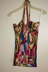 SKY Brand 100% Silk Wild Color Halter Top with Gold Chain neckline Size L