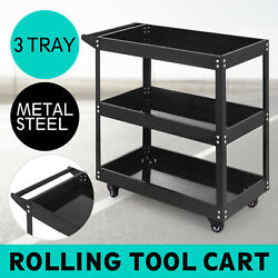 Rolling 3 Tray Utility Cart Dolly 200lbs Storage Shelves Workshop Garage Tool