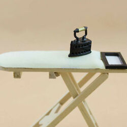 1:12 Scale Doll House Miniature Iron With Ironing Board Set Pretend Play ^P