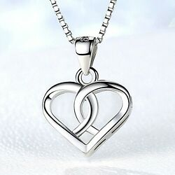 REAL SOLID SILVER 925 Classic Sterling Silver Necklace & Pendant  Heart-063