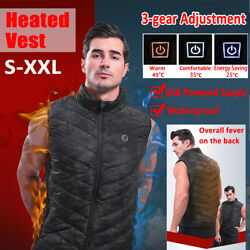 Men Women Unisex Electric USB Heated Vest Jacket Coat Winter Body Warmer Vest