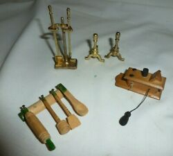 Vintage Miniature Doll House Kitchen UtensilsWall Phone & Fireplace Sides
