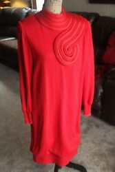 MEDICI DRESS EVENING COCKTAIL WOMEN SZ MED 44 8 VINTAGE PARTY RED ITALY HARVEY $69.50