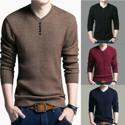 Men Casual V-Neck Pullover Slim Shirt Sweaters Knitted Cardigan Coat Sweatshirt