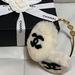 Unused Authentic CHANEL Vintage CC Logo Earmuffs Lapin Fur White Black