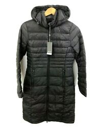 NWT Sears Womens Ultra Light Down Jacket Size Small 4 6 Packable Hood Gray Long $54.99