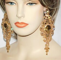 Gold W.Gold Bridal party Rhinestone Crystal Large Chandelier Earrings 0729