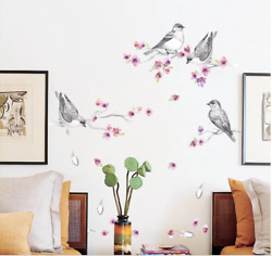 Bird Wall Stickers Flowers Wall Decals Removable Living Room Decor 50x70cm $9.90