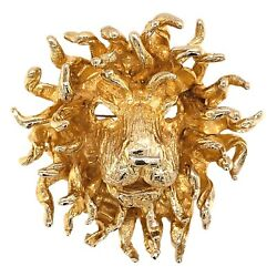 BROOCH 14K Yellow Gold Flowing Mane Lion Pin Pendant - Vintage Estate Jewelry