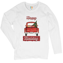 Happy Holiday Women#x27;s Long Sleeve T shirt Merry Christmas Truck Santa Claus $17.95