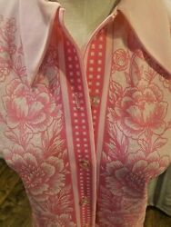 True Vtg 70s 60's Double Knit Polyester Floral pink button up Top size S  M