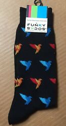 Funky Socks Origami Paper Bird Novelty Size 6 12 Men's Crew New With Tags AR194 $5.95